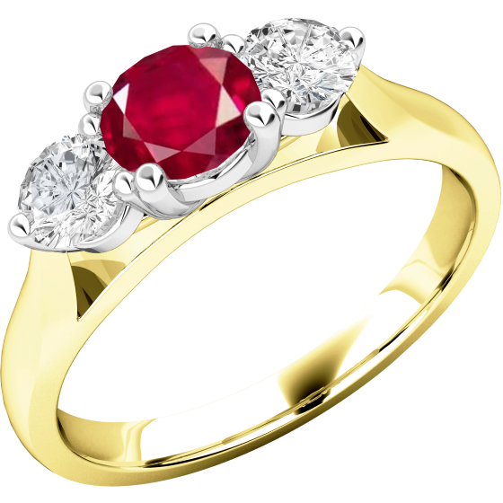 Rubin und Diamant Ring für Dame in 18kt Gelbgold und Weißgold mit einem runden Rubin in der Mitte und Brillanten auf beiden Seiten-img1