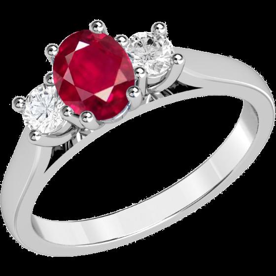 Rubin und Diamant Ring für Dame in 18kt Weißgold mit einem ovalen Rubin und 2 runden Brillanten in Krappenfassung-img1