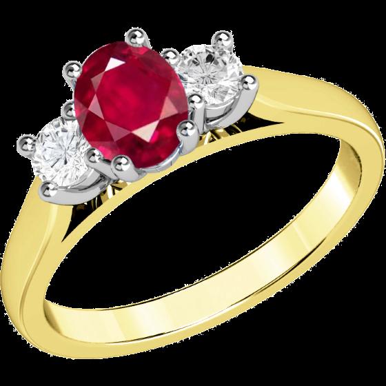 Rubin und Diamant Ring für Dame in 18kt Gelbgold und Weißgold mit einem ovalen Rubin und 2 runden Brillanten in Krappenfassung-img1