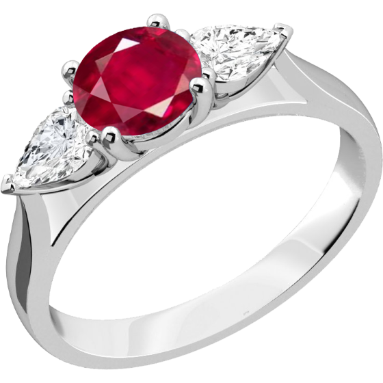 Inel cu Rubin si Diamant Dama Aur Alb 18kt cu un Rubin Rotund si 2 Diamante Forma Para in Setare Gheare-img1