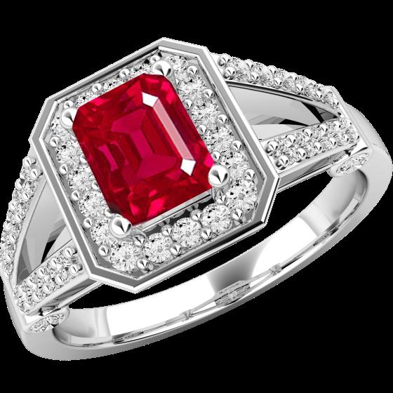 Rubin und Diamant Ring für Dame in 18kt Weißgold mit einem Smaragd-Schliff Rubin umgeben von runden Brillant Schliff Diamanten-img1