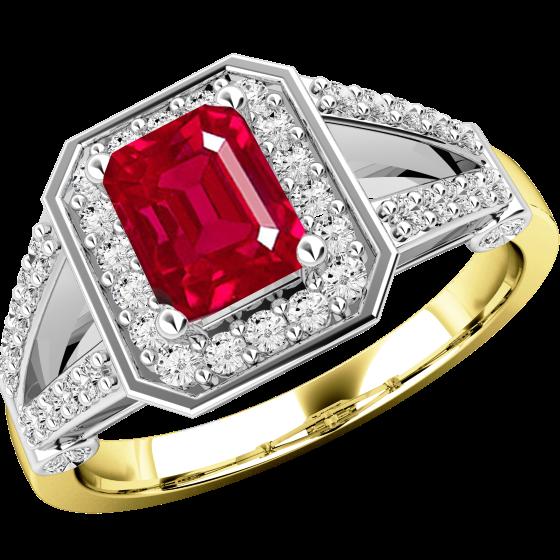 Rubin und Diamant Ring für Dame in 18kt Gelb & Weißgold mit einem Smaragd-Schliff Rubin umgeben von runden Brillant Schliff Diamanten-img1