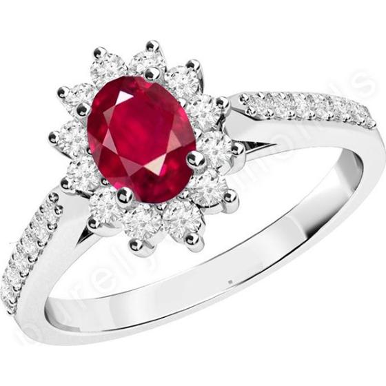 Rubin und Diamant Ring für Dame in 18kt Weißgold mit einem ovalen Rubin und runden Brillantschliff Diamanten-img1