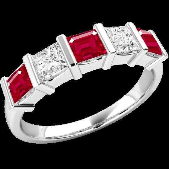 Inel cu Rubin si Diamant Dama Aur Alb 18kt cu 3 Rubine Patrate si 2 Diamante Forma Princess-img1