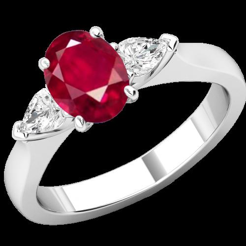 Inel cu Rubin si Diamante Dama Aur Alb 18kt un Rubin Oval si 2 Diamante Forma Para pe Margini-img1