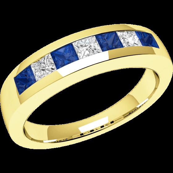 Inel cu Safir si Diamant Dama Aur Galben 18kt cu 7 Pietre, Safire si Diamante in Setare Canal-img1