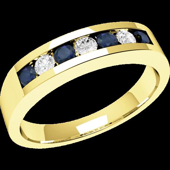 Inel cu Safir si Diamant Dama Aur Galben 18kt cu 7 Pietre, Safire si Diamante, Stil Eternity-img1