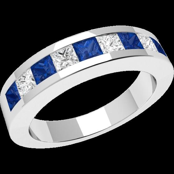 Inel cu Safir si Diamant Dama Aur Alb 18kt cu 9 Pietre, Safire si Diamante in Setare Canal-img1