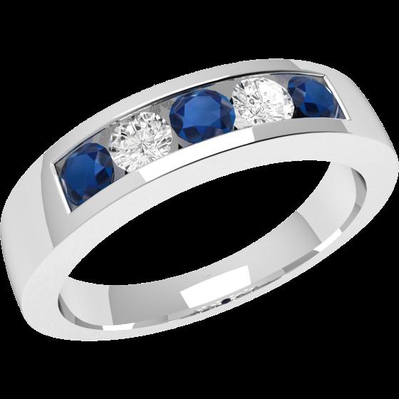 RDS047WInel cu Safir si Diamant Dama Aur Alb 18kt cu 5 Pietre, Safire si Diamante in Setare Canal-img1