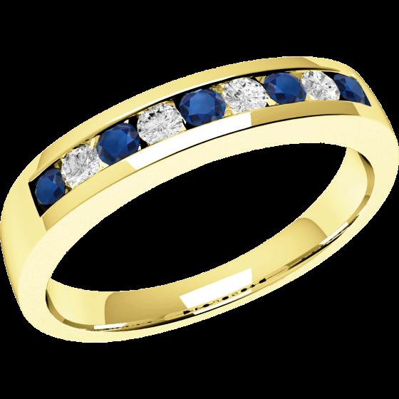 RDS053/9Y - 9kt Gelbgold 9 Steine Saphir und Diamant Ring-img1