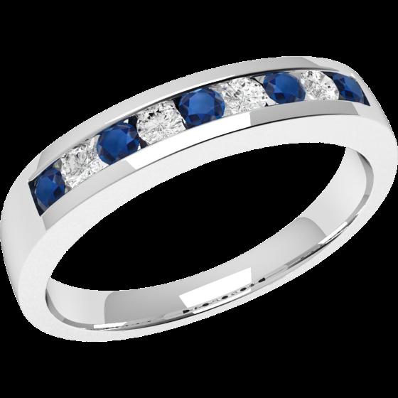 Inel cu Safir si Diamant Dama Aur Alb 18kt cu 9 Pietre, Safire si Diamante-img1
