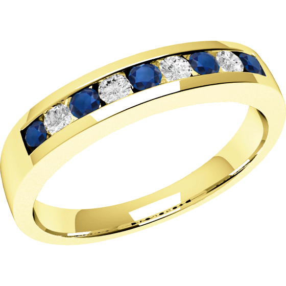 Sapphire and Diamond Ring for Women in 18ct yellow gold with 5 round sapphires and 4 round brilliant cut diamonds-img1