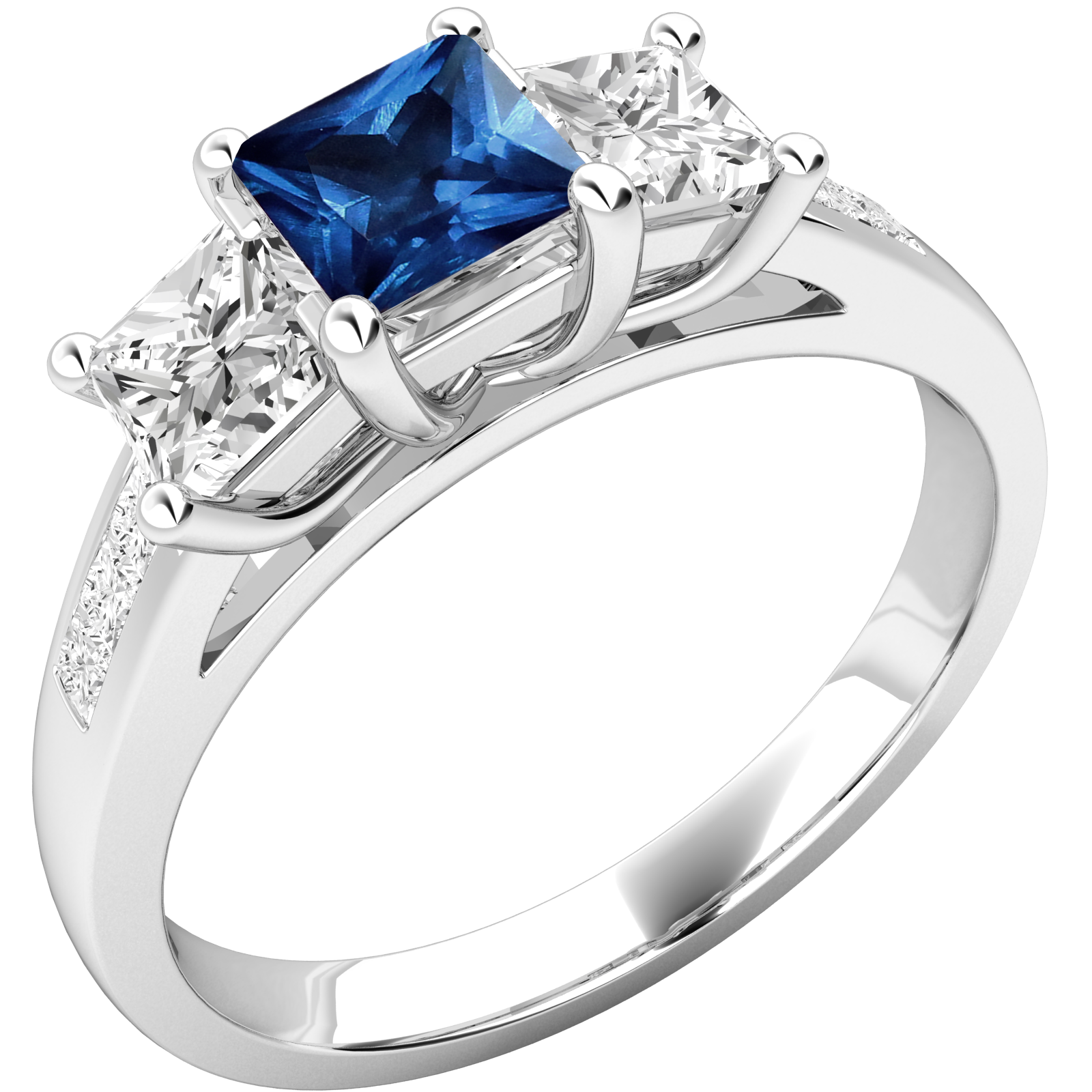 RDS111W-Inel cu Safir si Diamant Dama Aur Alb 18kt cu un Safir Taietura Pătrat in Mijloc si 2 Diamante Taiat Princess pe Fiecsre Parte-img1