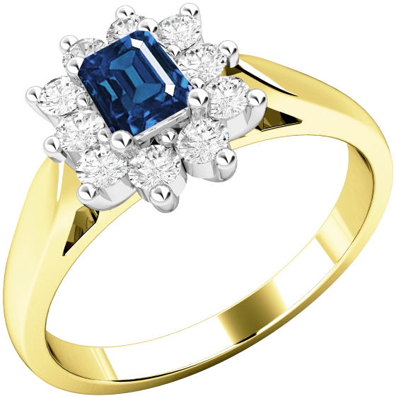 Saphir und Diamant Ring für Dame in 18kt Gelb & Weißgold mit einem Smaragd-Schliff Saphir umgeben von runden Brillanten alle in Krappenfassung-img1