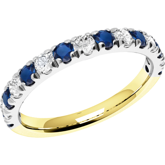 Sapphire and Diamond Ring for Women in 18ct yellow and white gold with 8 sapphires and 7 diamonds, all in a claw setting-img1
