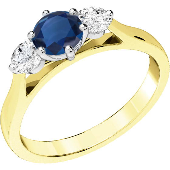 Inel cu Safir si Diamant Dama Aur Galben si Aur Alb 18kt cu un Safir Rotund si 2 Diamante Rotund Briliant-img1