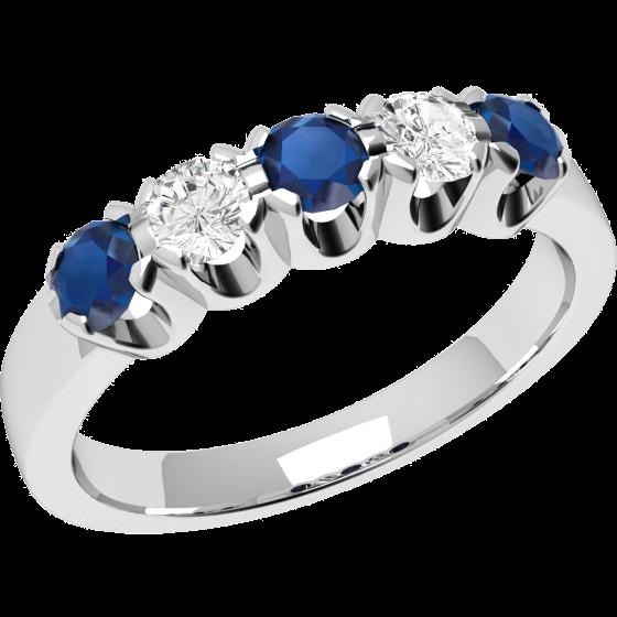 Inel cu Safir si Diamant Dama Aur Alb 18kt cu 3 Safire Rotunde si 2 Diamante Rotund Briliant-img1