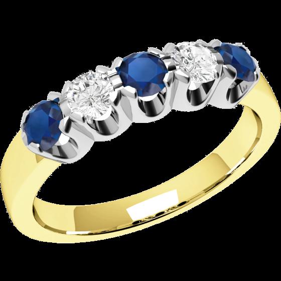 Inel cu Safir si Diamant Dama Aur Galben si Aur Alb 18kt cu 3 Safire Rotunde si 2 Diamante Rotund Briliant-img1