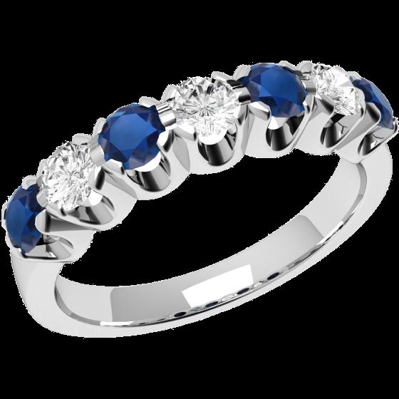 RDS244W-Inel cu Safir si Diamant Dama Aur Alb 18kt cu 4 Safire Rotunde si 3 Diamante Rotund Briliant,un Decor Clasic si Elegant-img1