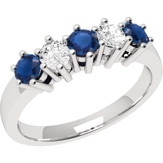 Sapphire and Diamond Ring for Women in 9ct white gold with 3 round sapphires and 2 round brilliant diamonds, all in a claw setting-img1
