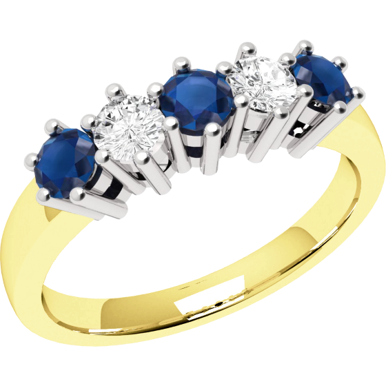 Sapphire and Diamond Ring for Women in 9ct yellow and white gold with 3 round sapphires and 2 round brilliant diamonds, all in a claw setting-img1