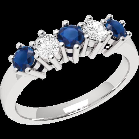 RDS248W Saphir und Diamant Ring für Dame in 18kt Weißgold mit 5 Steinen in Krappenfassung-img1