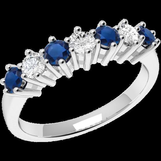 RDS253W-nel cu Safir si Diamant Dama Aur Alb 18kt cu 4 Safire Rotunde si 3 Diamante Rotunde in Setare Gheare-img1