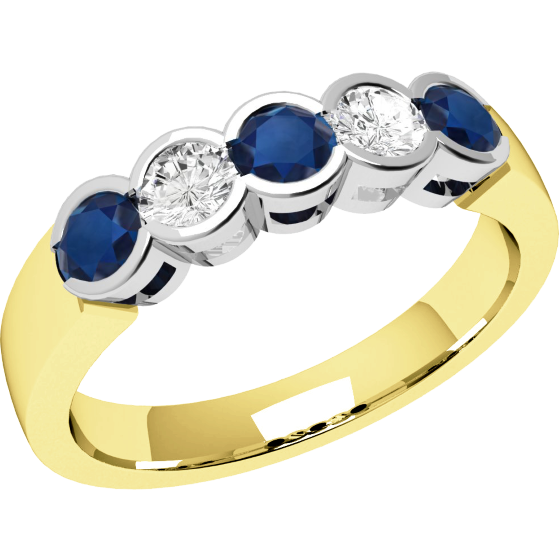 Sapphire and Diamond Ring for Women in 9ct yellow and white gold with 3 round sapphires and 2 round brilliant cut diamonds, all in a rub-over setting-img1