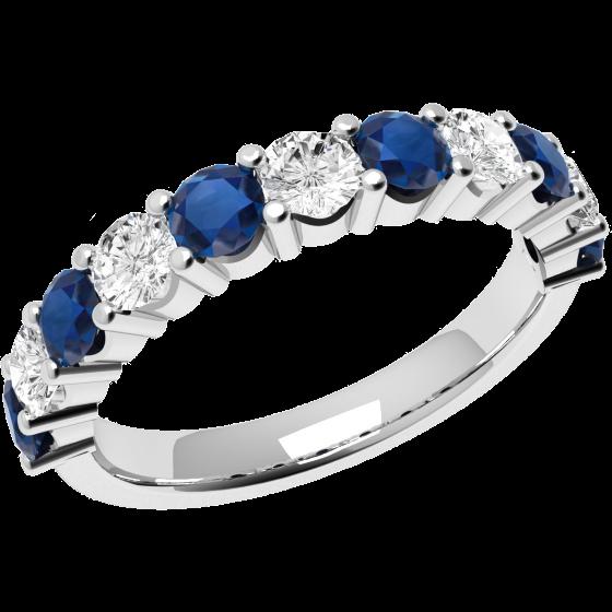RDS302W-Inel cu Safir si Diamant Dama Aur Alb 18kt cu 6 Safire si 5 Diamante in Setare Gheare,Decor Clasic si Elegant-img1