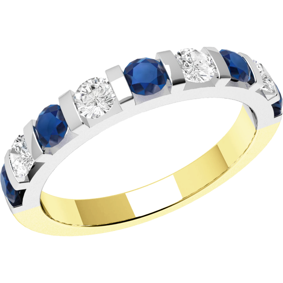 Inel cu Safir si Diamant Dama Aur Galben si Aur Alb 18kt cu 9 Pietre, Safire si Diamante in Setare Bara-img1