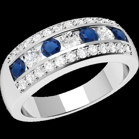 RDS332W-Inel Semi Eternity cu Safire si Diamante Dama Aur Alb, 18kt cu Diamante si Safire Rotunde in Setare Tip Canal & Gheare-img1