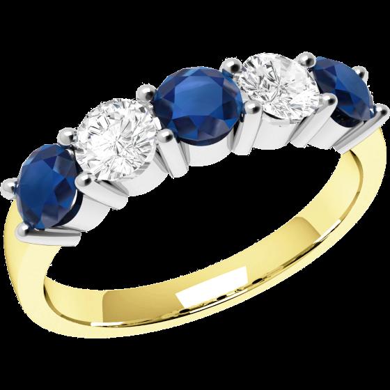 Saphir und Diamant Ring für Dame in 18kt Gelbgold und Weißgold mit Saphiren und Brillant Schliff Diamanten in Krappenfassung-img1