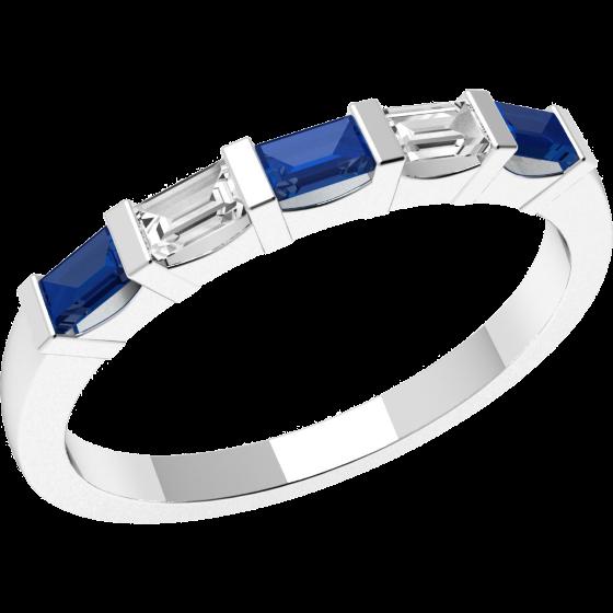 Inel cu Safir si Diamant Dama Aur Alb 18kt cu 5 Pietre, Safire si Diamante Forma Bagheta cu Setare Bara-img1