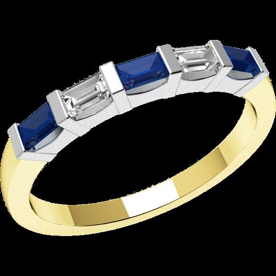 Inel cu Safir si Diamant Dama Aur Galben si Aur Alb 18kt cu 5 Pietre, Safire si Diamante Forma Bagheta cu Setare Bara-img1