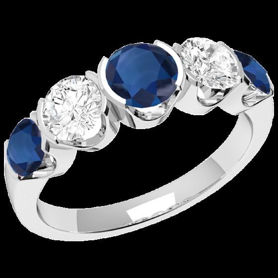 Saphir und Diamant Ring für Dame in 18kt Weißgold mit 3 runden Saphiren und 2 runden Brillanten in Semi-Zargenfassung-img1