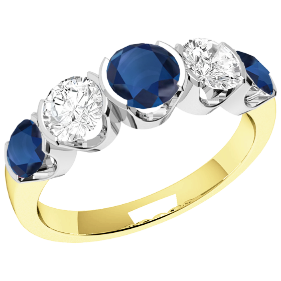Saphir und Diamant Ring für Dame in 18kt Gelbgold und Weißgold mit 3 runden Saphiren und 2 runden Brillanten in Semi-Zargenfassung-img1