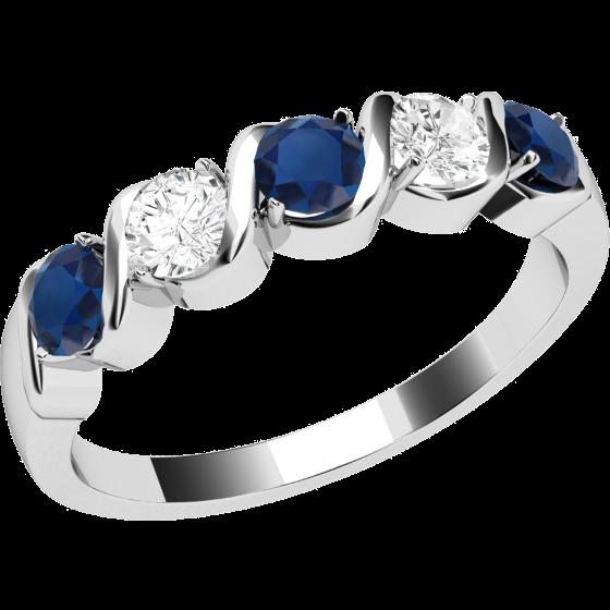 Inel cu Safir si Diamant Dama Aur Alb 9kt cu 3 Safire Rotunde si 2 Diamante Rotund Briliant In Stoc-img1