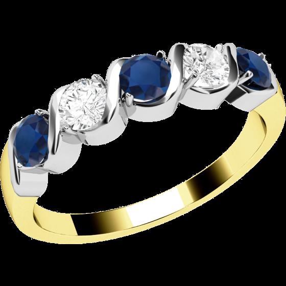Saphir und Diamant Ring für Dame in 9kt Gelbgold und Weißgold mit 5 Steinen-img1