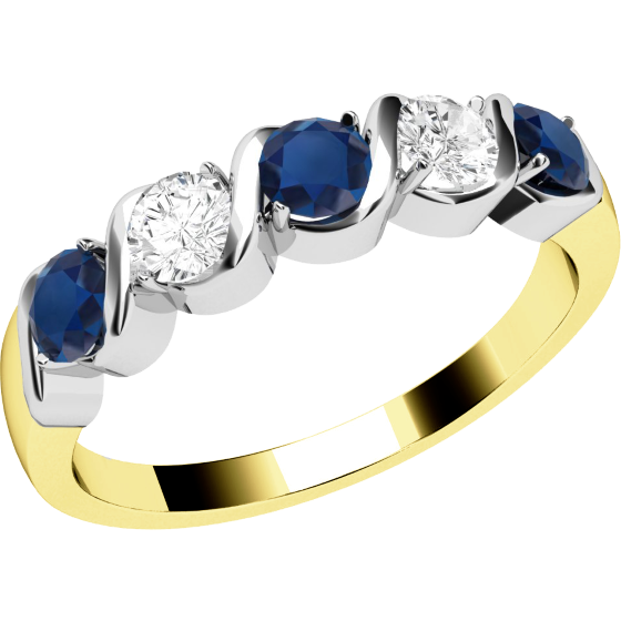 Sapphire and Diamond Ring for Women in 18ct yellow and white gold with 3 round sapphires and 2 round brilliant diamonds-img1