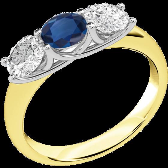 Saphir und Diamant Ring für Dame in 18kt Gelbgold und Weißgold mit 2 runden Brillanten und einem runden Saphir alle in Krappenfassung-img1