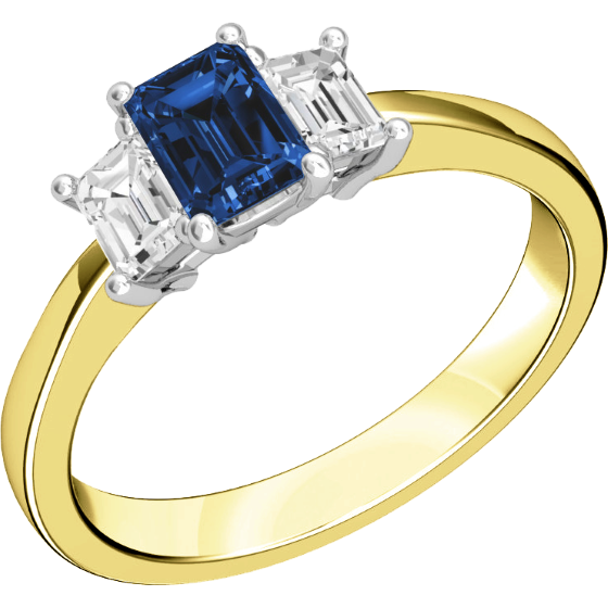 Saphir und Diamant Ring für Dame in 18kt Gelb & Weißgold mit 2 Smaragd-Schliff Diamanten und einem Smaragd-Schliff Saphir in Krappen-img1