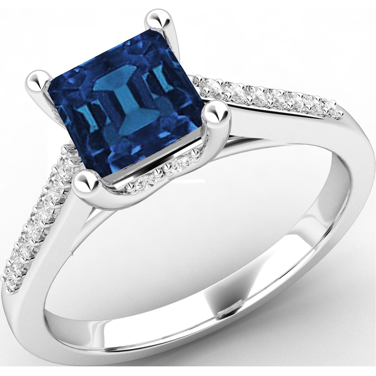 Inel cu Safir si Diamant Dama Aur Alb 18kt cu un Safir Forma Patrata si Diamante Rotunde Briliant-img1
