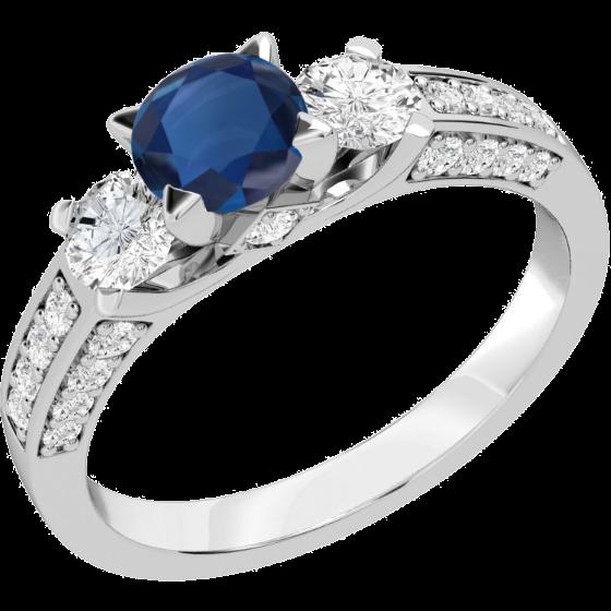 Saphir und Diamant Ring für Dame in 18kt Weißgold mit einem runden Saphir in der Mitte und runden Brillant Schliff Diamanten auf beiden Seiten & auf den Schultern-img1