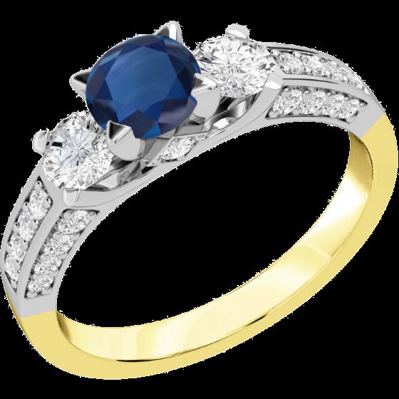 Saphir und Diamant Ring für Dame in 18kt Gelb und Weißgold mit einem runden Saphir in der Mitte und runden Brillant Schliff Diamanten auf beiden Seiten & auf den Schultern-img1