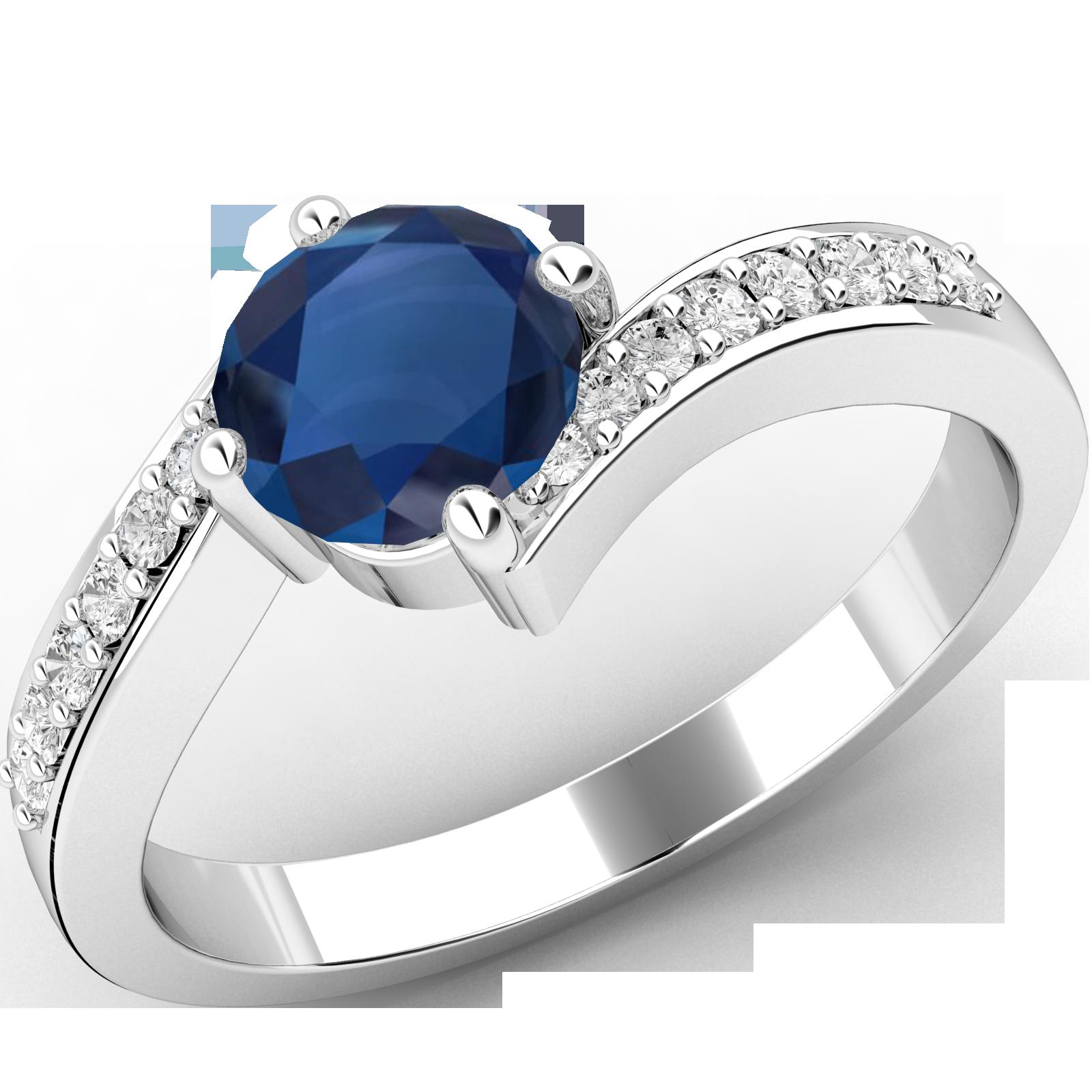RDS409W-Inel cu Safir si Diamante Mici pe Lateral Dama Aur Alb 18kt cu un Safir Rotund Briliant in Centru si Diamante Rotunde Briliant Pe Margini in Setare cu Gheare, Inel Twist-img1