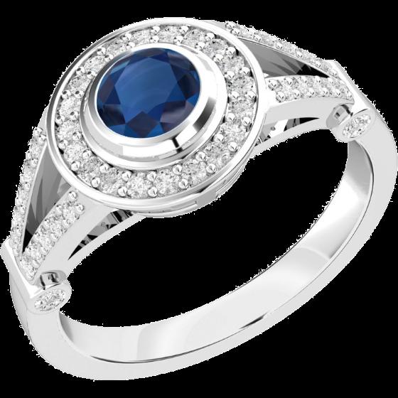Saphir und Diamant Ring für Dame in 18kt Weißgold mit einem runden Saphir in Zargenfassung umgeben von kleinen Brillanten in Krappenfassung-img1