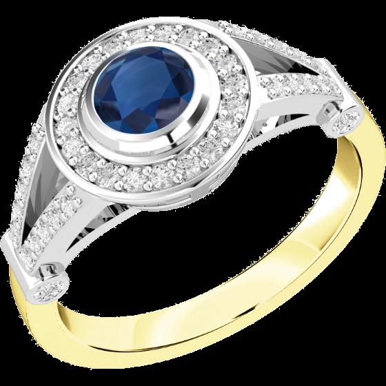 Saphir und Diamant Ring für Dame in 18kt Gelb & Weißgold mit einem runden Saphir in Zargenfassung umgeben von kleinen Brillanten in Krappenfassung-img1