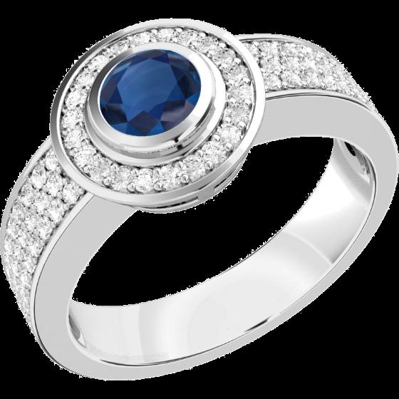 Saphir und Diamant Ring für Dame in 18kt Weißgold mit einem Saphir in Zargenfassung umgeben von kleinen runden Brillanten-img1