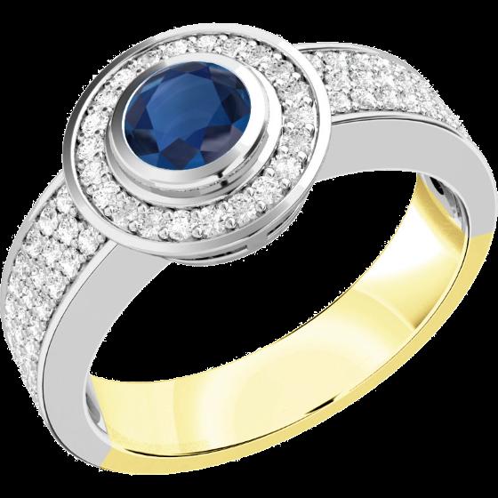 Saphir und Diamant Ring für Dame in 18kt Gelb und Weißgold mit einem Saphir in Zargenfassung umgeben von kleinen runden Brillanten-img1