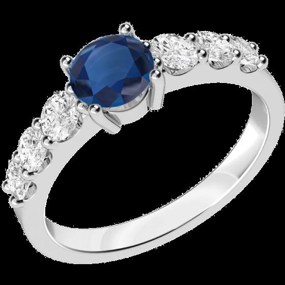 Saphir und Diamant Ring für Dame in 18kt Weißgold mit einem runden Saphir und 3 runden Brillanten auf beiden Seiten-img1